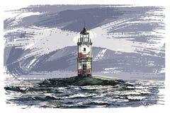 Faro en una isla en el mar abierto Ilustración de color Imagen de archivo libre de regalías