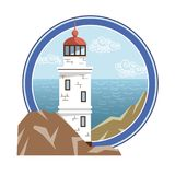 Faro en una isla en el mar abierto Ilustración de color Imagen de archivo