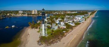 Faro Florida di Hillsboro della foto del fuco Fotografia Stock
