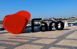 Faro hamn med signagen royaltyfri fotografi