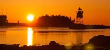 Faro il lago Superiore Minne di Marais del porto leggero di mattina grande fotografia stock libera da diritti