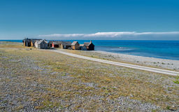 Faro island in the Baltic sea. Helgumannens fishing village on Faro island in the Baltic sea stock images