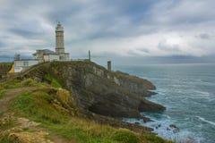 Faro l'Atlantico della Spagna Cantabria cielo Fotografia Stock Libera da Diritti