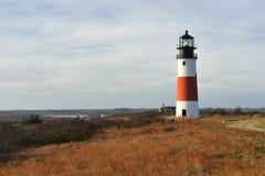 Faro ligero principal Nantucket de Sankaty en otoño Foto de archivo