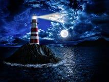 Faro a luce della luna Immagine Stock