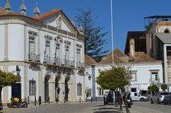 Cobbled streets in Faro city historical center, Algarve, Southern Portugal Royalty Free Stock Photo