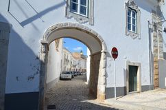 Cobbled streets in Faro city historical center, Algarve, Southern Portugal stock images
