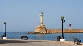 Faro nel porto di chania Fotografia Stock