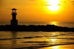 Faro nel tramonto, Tailandia Fotografia Stock Libera da Diritti