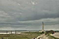 Faro nella baia di Somme fotografia stock
