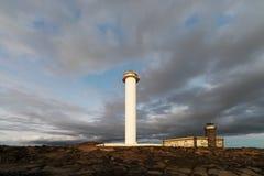 Faro Pechiguera durante o por do sol foto de stock