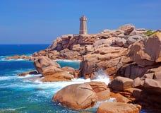 Faro, Ploumanach, Bretaña Foto de archivo libre de regalías