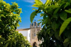 Cathedral of Faro , Algarve, Portugal. Faro - Portugal, April 3, 2018: Faro Cathedral and orange trees in Algarve, Portugal stock photo
