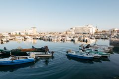 Fisherman at the Faro Marina, Portugal royalty free stock images
