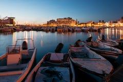 Faro Marina, Algarve, Portugal. Faro - Portugal, April 1, 2018: Night view of the Old Town and the Marina of Faro in Algarve, Portugal stock images
