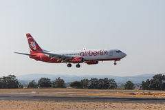 FARO, PORTUGAL - Juny 18, 2017 : Airberlin Flights aeroplane landing on  Faro International Airport. Stock Photo