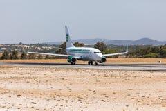 FARO, PORTUGAL - Juny 18, 2017 : Germania Flights aeroplane departure from Faro International Airport. Airport Stock Image