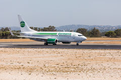 FARO, PORTUGAL - Juny 18, 2017 : Germania Flights aeroplane departure from Faro International Airport. Airport Stock Images