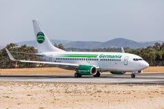 FARO, PORTUGAL - Juny 18, 2017 : Germania Flights aeroplane departure from Faro International Airport. Airport Stock Photos