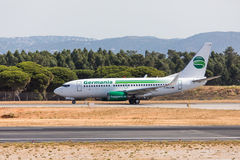 FARO, PORTUGAL - Juny 18, 2017 : Germania Flights aeroplane departure from Faro International Airport. FARO, PORTUGAL - Juny 18, 2017 : GermaniaFlights Royalty Free Stock Image