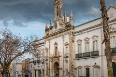 Architecture details of the Arco de Vila of Faro. Faro, Portugal - May 1, 2018: Architecture details of the Arco de Vila arch of the city, one of the gateways of Royalty Free Stock Images