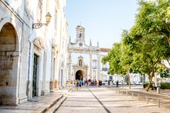 Faro city in Portugal. FARO, PORTUGAL - October 02, 2017: View on the park with Cidade arch in the old town of Faro on the south of Portugal stock photo