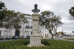 Garden Manuel Bivar bust statue. FARO, PORTUGAL: 4th of March, 2018 - Garden Manuel Bivar bust statue of Joao de Deus poet in Faro city, Portugal royalty free stock images