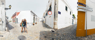 Faro, Portugal. Two ladies on the street of the city of Faro, Portugal royalty free stock photos