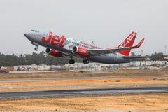 FARO PORTUGALIA, Juny, - 24, 2017: Jet2 lotów samolotu departur Zdjęcia Stock