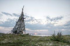 Faro principal arruinado en la región del mar blanco Imagen de archivo