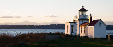 Faro Puget Sound Seattle di West Point del parco di scoperta Immagini Stock Libere da Diritti