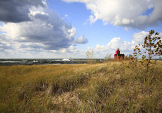 Faro rojo grande Holanda Michigan Fotografía de archivo