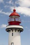 Faro rojo y blanco en el Topo, sao Jorge, Azores portugal Fotografía de archivo libre de regalías