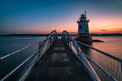 Faro su Hudson River Fotografia Stock Libera da Diritti