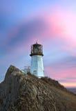 Faro su un'alta scogliera sulla costa Fotografia Stock