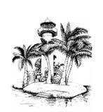 Faro su un'isola, circondata dalle palme Immagini Stock