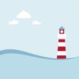 Faro sul paesaggio del mare. Fotografia Stock Libera da Diritti