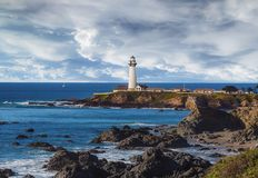 Faro sulla costa di California, vicino a Santa Cruz Fotografie Stock Libere da Diritti