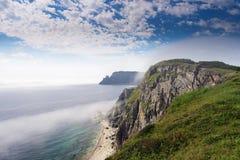 Faro sulla penisola Bazeluk Estremo Oriente russo Fotografia Stock