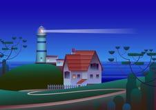 Faro sulla riva con il mare di notte su fondo - illustrazione piana di vettore fotografia stock