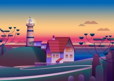 Faro sulla riva con il mare di sera su fondo - illustrazione piana di vettore immagine stock libera da diritti
