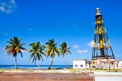 Faro sulla spiaggia Cayo Jutias, Cuba Immagine Stock