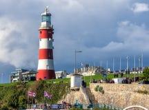Faro sulla zappa in Plymouth Fotografia Stock Libera da Diritti