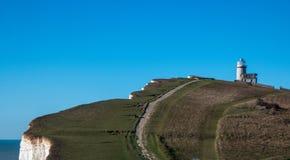 Faro sulle scogliere cape sassose di Eastbourne fotografia stock libera da diritti