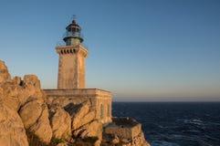 Faro Tenaro al tramonto fotografia stock