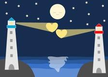 Faro in una scena romantica circa l'illustrazione del fumetto di amore di distanza Immagine Stock Libera da Diritti