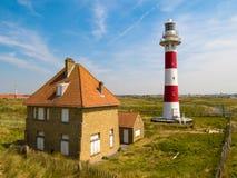 Faro Vierboete, Nieuwpoort, le Fiandre Occidentali, Belgio Immagini Stock Libere da Diritti