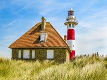 Faro Vierboete, Nieuwpoort, le Fiandre Occidentali, Belgio Fotografia Stock
