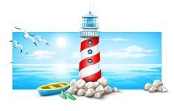 Faro y barco en la isla de las piedras Puesta del sol del mar Imagen de archivo