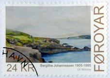 FAROE ISLAND - 2011: arte de las demostraciones, Bergithe Christine Johannessen 1905-1995, pintor del watercolour de Vestmanna Imagen de archivo libre de regalías